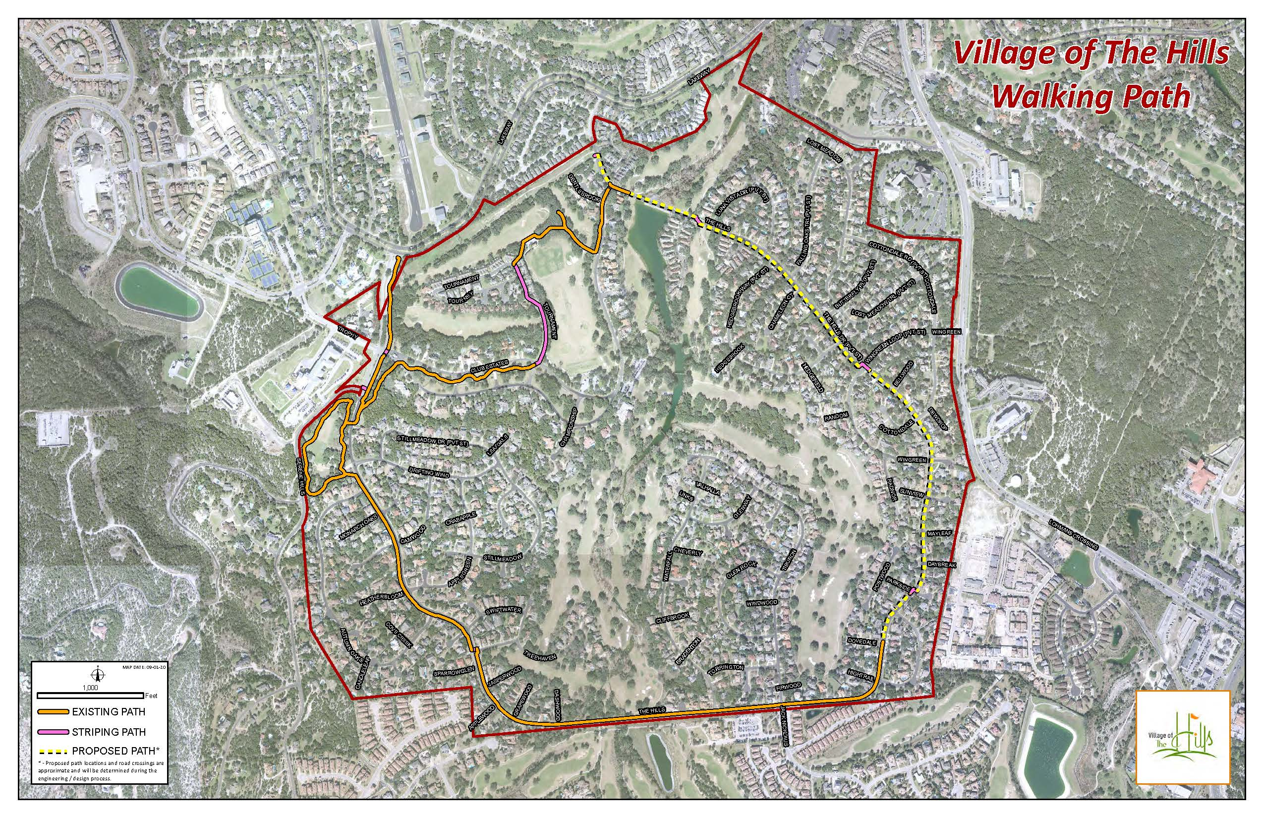 Walking Trail Map Constructed and Proposed Sections around The Hills Drive